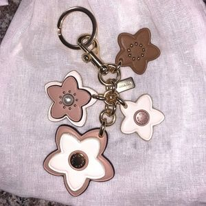 Coach Tearose Bag Charm Keyfob Keychain Neutrals